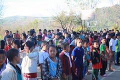 Lokale school bij het Noorden van Thailand Stock Foto
