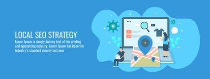Lokale seostrategie, klanten die routekaart op zoekmachine, lokale bedrijfsgidstoepassing zoeken Vlakke ontwerp vectorbanner royalty-vrije illustratie