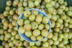 Lokale thailändische grüne Stachelbeerfrucht in Chiang Mai-Markt, Thailand Stockfotografie