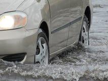 Lokale Vloed - Auto het Drijven door Water Stock Foto's