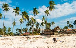 Lokaler Junge in Sansibar, Tansania, rustikales Boot Stockfotos