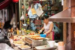 Lokaler Lebensmittelstall, Hong Kong Stockbild