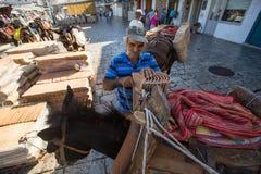 Lokaler Mann lädt Schindeln auf einem Esel Lizenzfreie Stockbilder