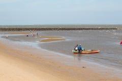 Lokaler som samlar skaldjur längs stranden Arkivfoto
