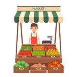 Lokaler Stallmarkt Verkauf des Gemüses Flache Vektorillustration Stockfotos
