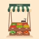 Lokaler Stallmarkt Verkauf des Gemüses Flache Vektorillustration Lizenzfreies Stockbild