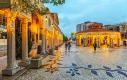 Lokaliserat i mitten av den Macao staden, är den gamla vallagen Vila Da Taipa en prövkopia av portugisisk arkitektur Upplyst ingå arkivbilder