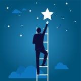 Lokalisiert über weißem Hintergrund Kletternde Leiter, die Stern erreicht Lizenzfreies Stockbild