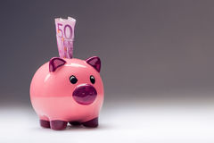 Lokalisiert auf Weiß Rosa Piggy Abwehr und fünfhundert Eurobanknoten Getontes Foto Stockfotos