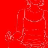 Lokalisiert auf Weiß Vektorlinie Kunst einer Frau, die Yoga tut vektor abbildung
