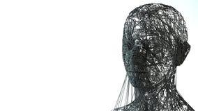 Lokalisiert auf Weiß wireframe 3D Kopf Lizenzfreie Stockfotografie