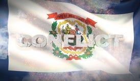Lokalisiert auf weißem background Zustand von West- Virginiaflagge Markierungsfahnen der Zustände von USA Abbildung 3D lizenzfreie abbildung