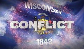 Lokalisiert auf weißem background Zustand von Wisconsin-Flagge Markierungsfahnen der Zustände von USA Abbildung 3D stock abbildung