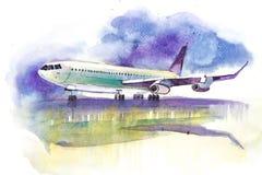 Lokalisiert auf weißem Hintergrund Flugzeug bereit, sich von der Rollbahn zu entfernen lizenzfreie abbildung