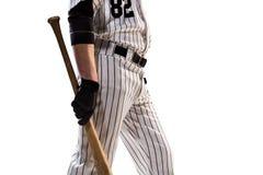 Lokalisiert auf weißem Spieler des professionellen Baseballs stockbilder