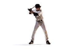 Lokalisiert auf weißem Spieler des professionellen Baseballs stockbild