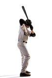 Lokalisiert auf weißem Spieler des professionellen Baseballs lizenzfreies stockbild