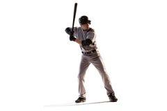 Lokalisiert auf weißem Spieler des professionellen Baseballs lizenzfreies stockfoto