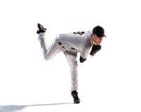 Lokalisiert auf weißem Spieler des professionellen Baseballs Lizenzfreie Stockbilder