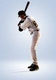 Lokalisiert auf weißem Spieler des professionellen Baseballs stockfotos