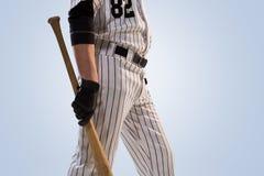 Lokalisiert auf weißem Spieler des professionellen Baseballs lizenzfreie stockfotografie