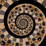 Lokalisiert auf weißen schwarzen Zahlen des schwarzen abstrakten hölzernen Schachschreibtisches mischen Sie gewundenen Effekt Zus stock abbildung