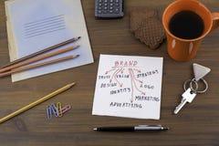 Lokalisiert auf white Handschrift auf einer Serviette Hölzerner Schreibtisch mit Stockfoto
