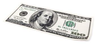 Lokalisiert 100 US$ Bill Lizenzfreie Stockbilder