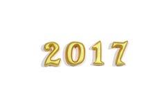 Lokalisiert 2017 wirklichen Gegenständen 3d auf weißem Hintergrund, guten Rutsch ins Neue Jahr-Konzept Lizenzfreie Stockbilder