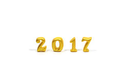 Lokalisiert 2017 wirklichen Gegenständen 3d auf weißem Hintergrund, guten Rutsch ins Neue Jahr-Konzept Lizenzfreie Stockfotografie