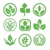 Lokalisierte abstrakte grüne Farblogosammlung Naturelement-Firmenzeichensatz der runden Form Blatt in der menschlichen Handikone Lizenzfreies Stockbild