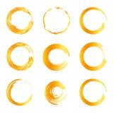 Lokalisierte abstrakte Logosammlung der runden Form orange Farb, Sonnenfirmenzeichensatz, geometrische Kreise vector Illustration Stockbild