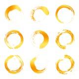 Lokalisierte abstrakte Logosammlung der runden Form orange Farb, Sonnenfirmenzeichensatz, geometrische Kreise vector Illustration Stockfotos