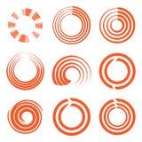 Lokalisierte abstrakte Logosammlung der runden Form orange Farb, Sonnenfirmenzeichensatz, geometrische Kreise vector Illustration Lizenzfreie Stockfotos