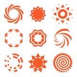 Lokalisierte abstrakte Logosammlung der runden Form orange Farb, Sonnenfirmenzeichensatz, geometrische Kreise vector Illustration Lizenzfreies Stockfoto