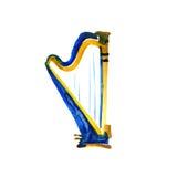 Lokalisierte Aquarellharfe auf Weiß Schönes klassisches Instrument stock abbildung