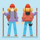Lokalisierte Backpaker-Charakter-Gebirgsreise-Reise-Ferien-Mann-hölzernes Sommer-Frühlings-Konzept-flaches Design Ikonen-gesetzte Stockfotos