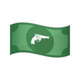 Lokalisierte Banknote mit einem Gewehr lizenzfreie abbildung