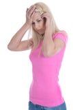 Lokalisierte blonde junge Frau mit Migräne über weißem Hintergrund Stockfotografie