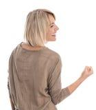 Lokalisierte blonde mittlere Greisin, die Faust herstellt: Konzept für succes Lizenzfreie Stockbilder