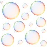 Lokalisierte bunte Regenbogenseifenblasen Stockbild