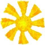 Lokalisierte bunte Schmutzsonne der Kunstöl-Bürstenzeichnung abstrakten Hintergrund Stockfoto