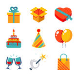 Lokalisierte flache Ikonen stellten Geschenk, Partei, Geburtstag ein Lizenzfreies Stockbild