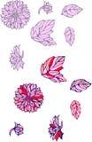 Lokalisierte Gegenstände von Dahlie und von Blättern 2 Stockfotos
