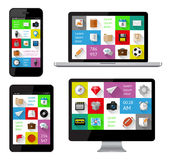 Lokalisierte Geräte mit infographics Lizenzfreie Stockfotos