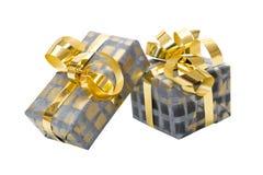 Lokalisierte Geschenkboxen für Weihnachten in Grauem und in Goldenem Lizenzfreies Stockbild