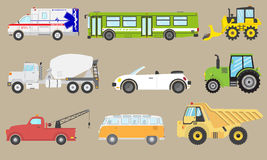 Lokalisierte gesetzte Autoikone des Fahrzeugvektors Krankenwagen, Bus, Packwagen, industrielle Automobile Stockbild