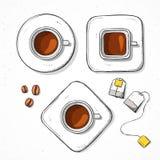 Lokalisierte gesetzte Schalen, Kaffeebohne, handgemachte Skizzenart des Teebeutels Stockfoto