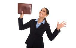 Lokalisierte glückliche erfolgreiche Geschäftsfrau, die über Weiß feiert Lizenzfreies Stockfoto