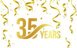 Lokalisierte goldene Farbe Nr. 35 mit Wortjahrikone auf weißem Hintergrund mit fallenden Goldkonfettis und Bändern, 35. Stockfotografie